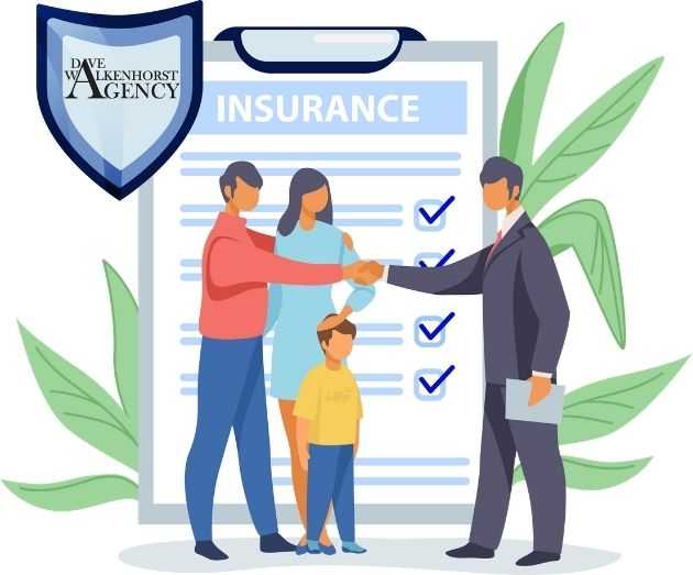A cartoon graphic depicting a family shaking hands with a insurance agent