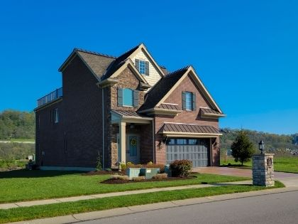 A brick two story home in a nice residential neighborhood