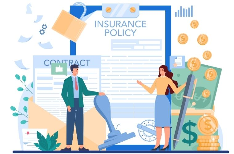 A cartoon graphic depicting  a man and a woman standing in front of insurance contracts.