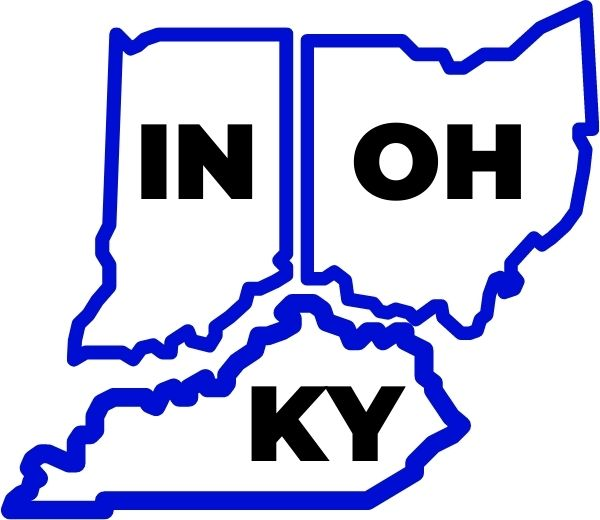 A simple graphic depicting the states of Indiana, Ohio and Kentucky
