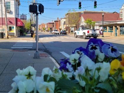 A view of Greater Cincinnati taken from street level.